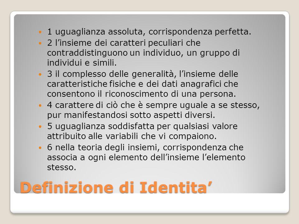 Definizione di Identita'