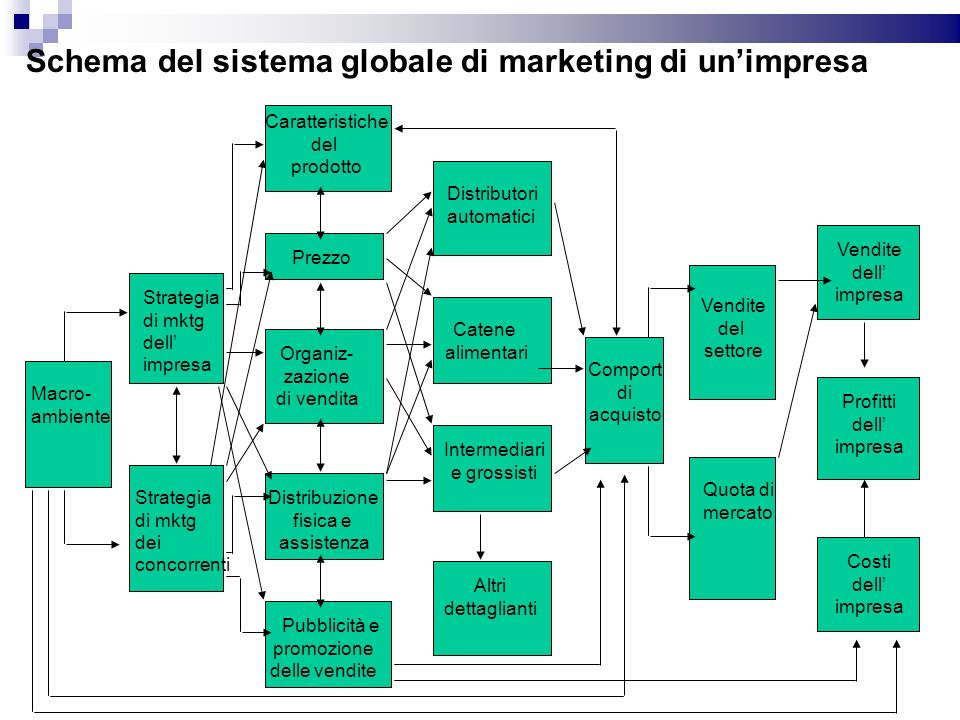 Schema del sistema globale di marketing di un'impresa