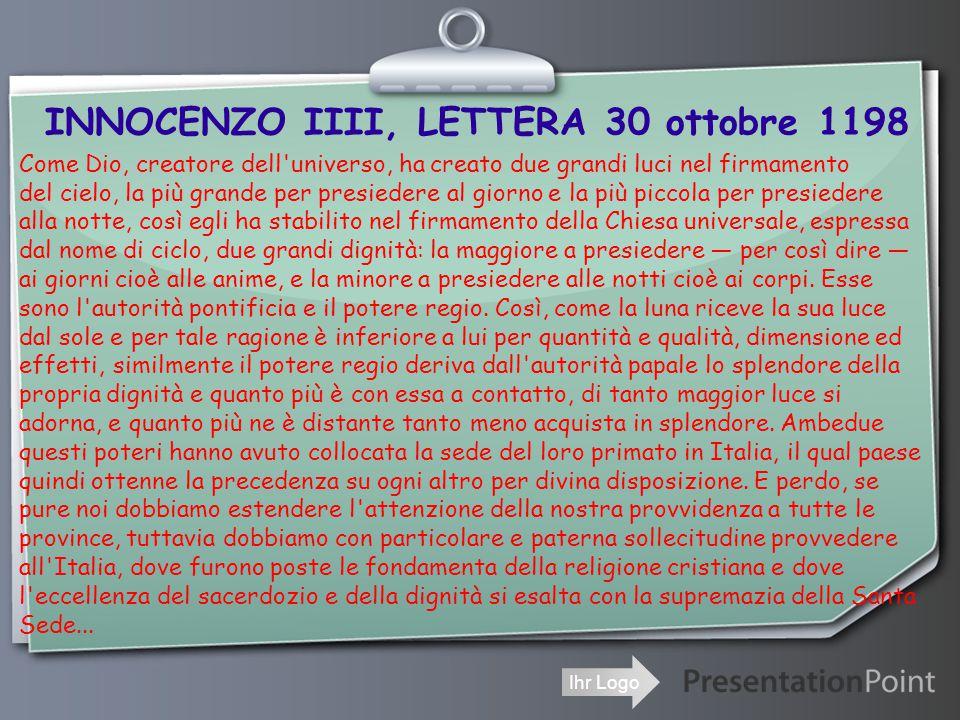 INNOCENZO IIII, LETTERA 30 ottobre 1198