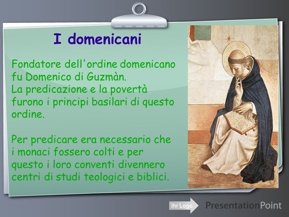 I domenicani Fondatore dell ordine domenicano fu Domenico di Guzmàn.