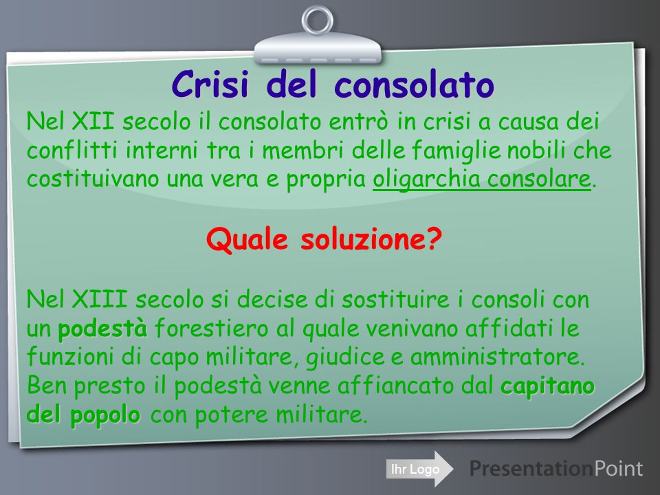 Crisi del consolato Quale soluzione