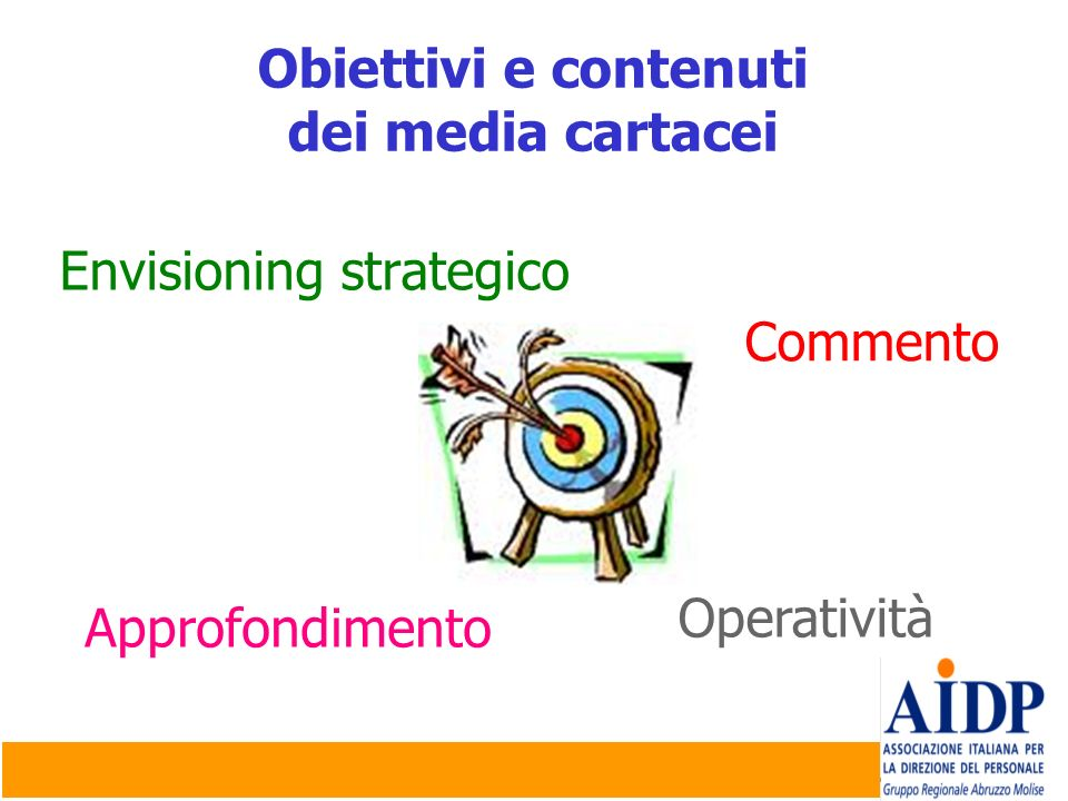 Obiettivi e contenutidei media cartacei.Envisioning strategico.