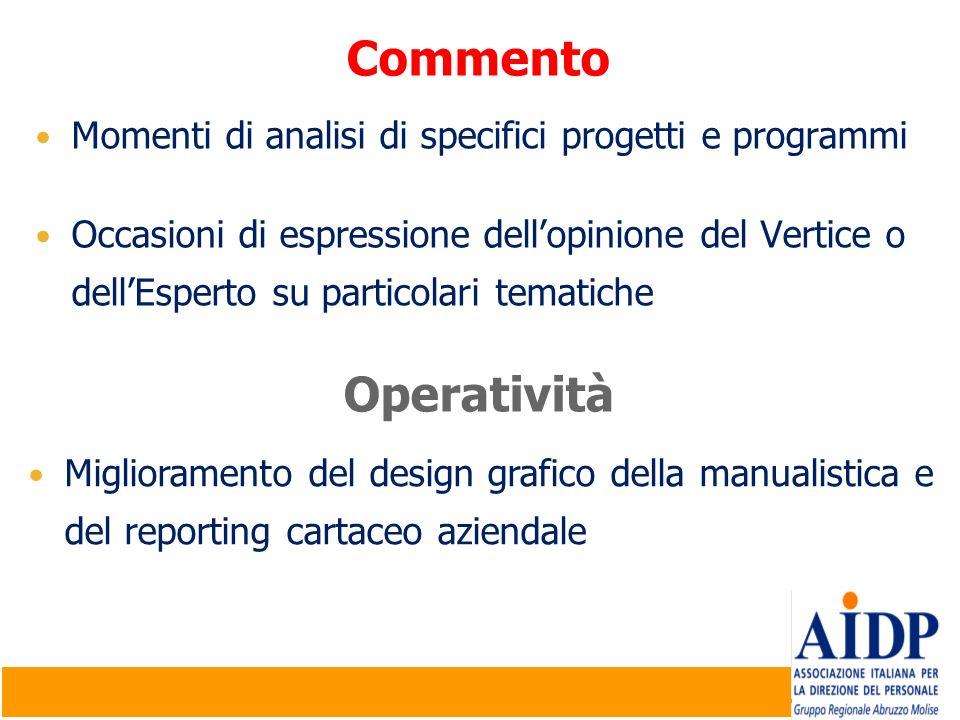 Commento Momenti di analisi di specifici progetti e programmi.