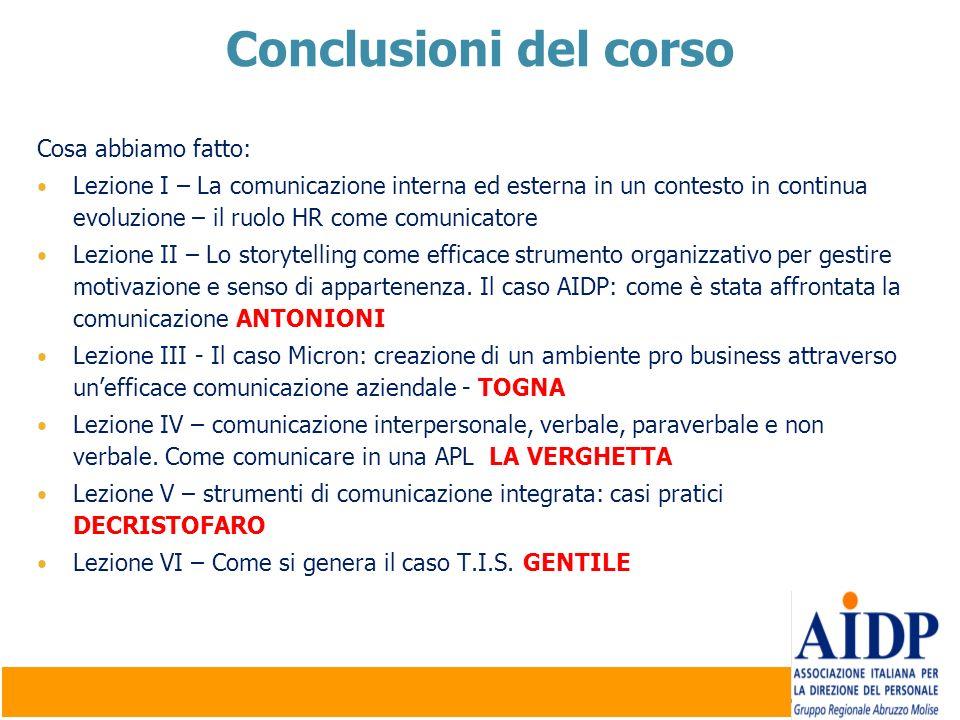 Conclusioni del corso Cosa abbiamo fatto: