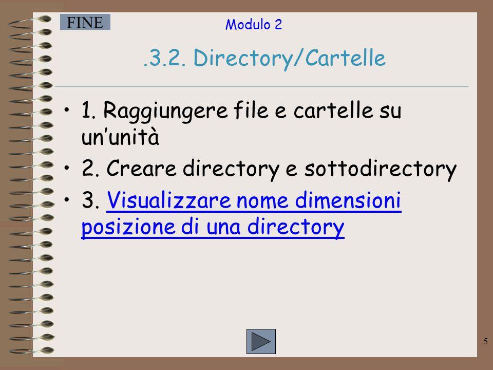 .3.2. Directory/Cartelle 1. Raggiungere file e cartelle su un'unità. 2. Creare directory e sottodirectory.