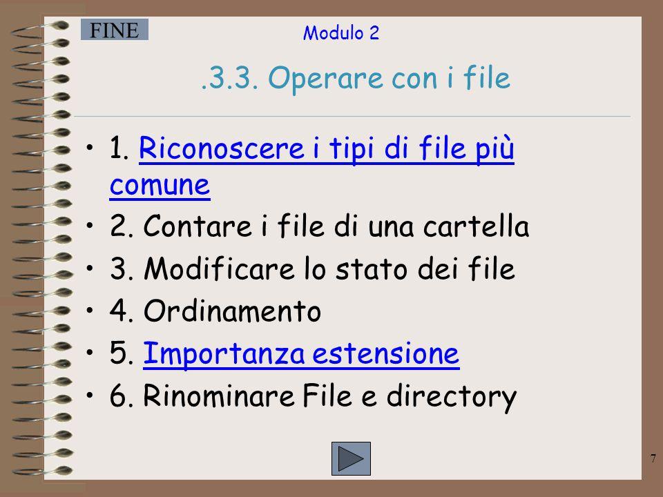 .3.3. Operare con i file 1. Riconoscere i tipi di file più comune. 2. Contare i file di una cartella.