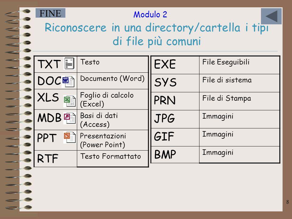 Riconoscere in una directory/cartella i tipi di file più comuni