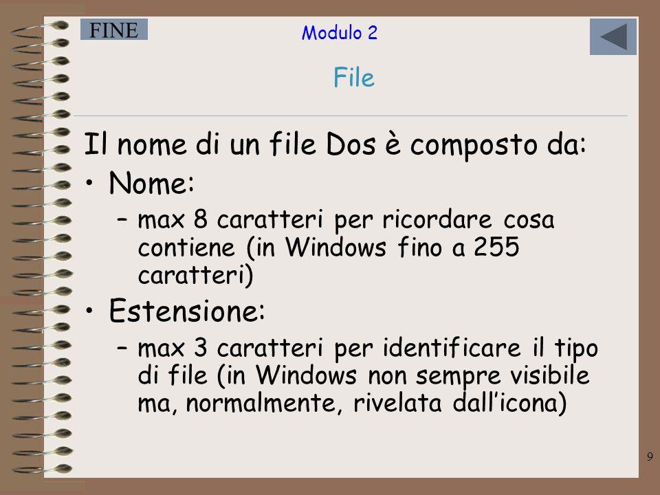 Il nome di un file Dos è composto da: Nome: