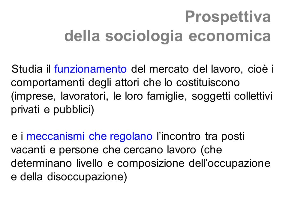 Prospettiva della sociologia economica