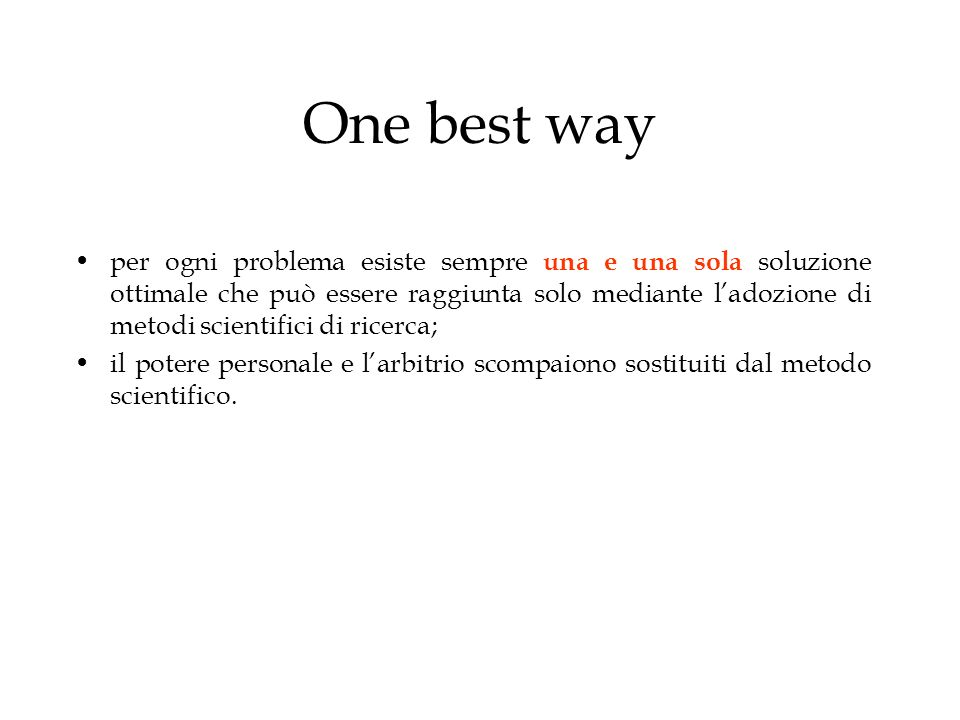 One best way