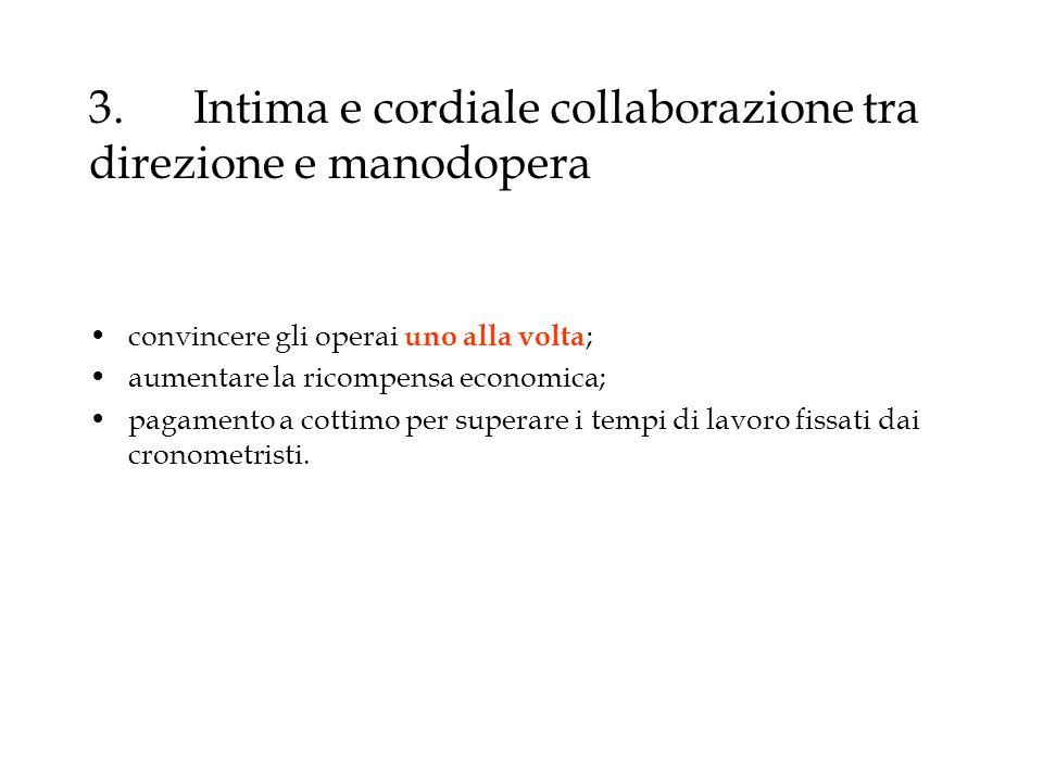 3. Intima e cordiale collaborazione tra direzione e manodopera