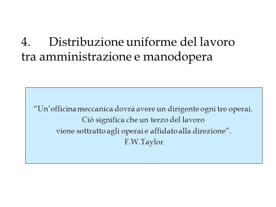 4. Distribuzione uniforme del lavoro tra amministrazione e manodopera