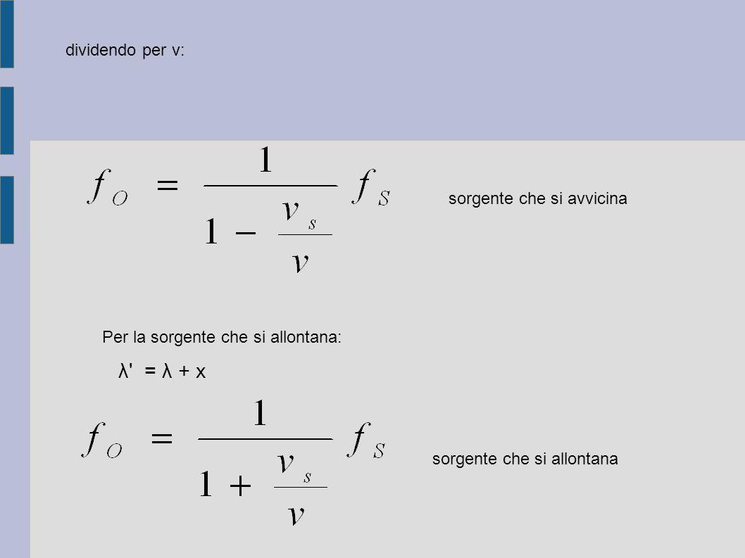λ = λ + x dividendo per v: sorgente che si avvicina