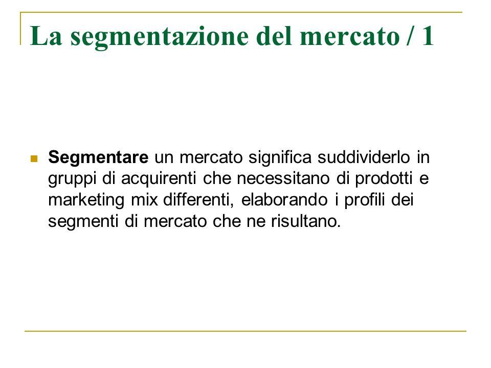 La segmentazione del mercato / 1