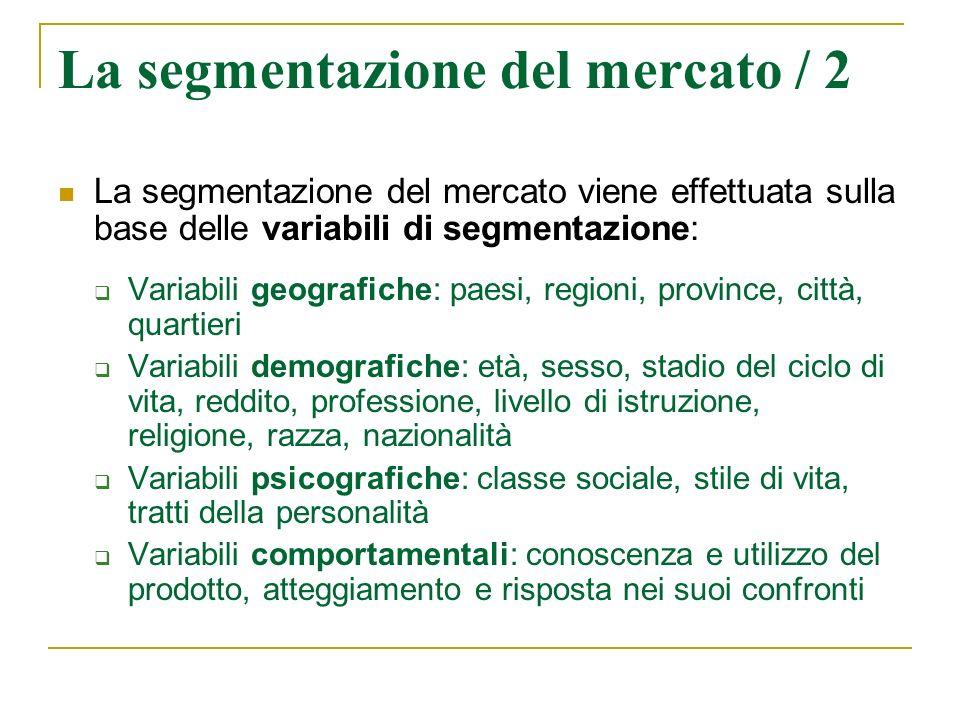 La segmentazione del mercato / 2