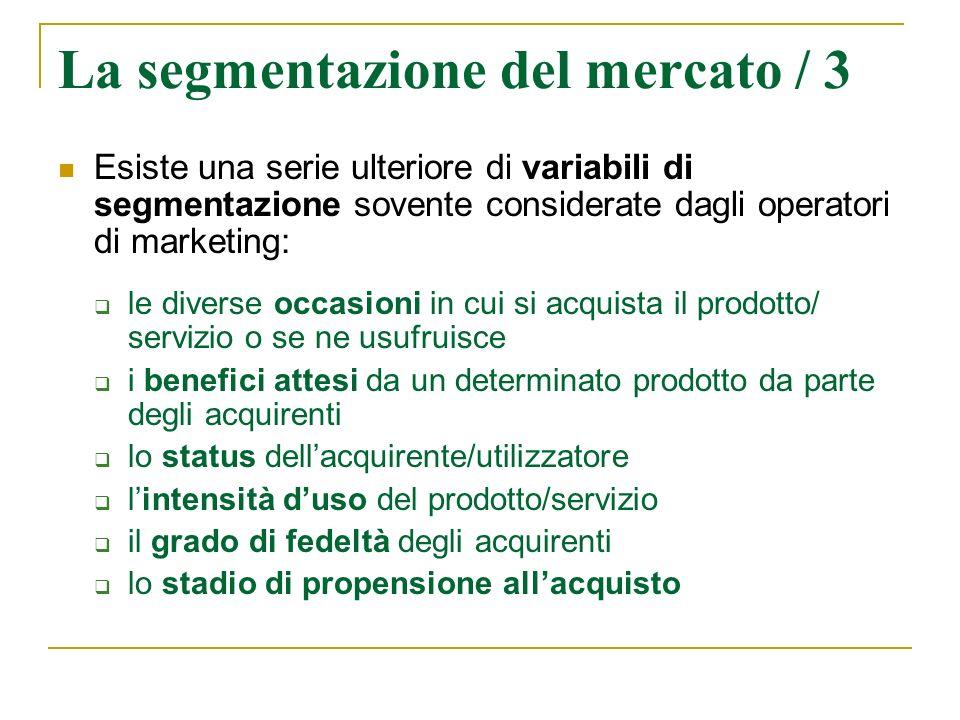 La segmentazione del mercato / 3