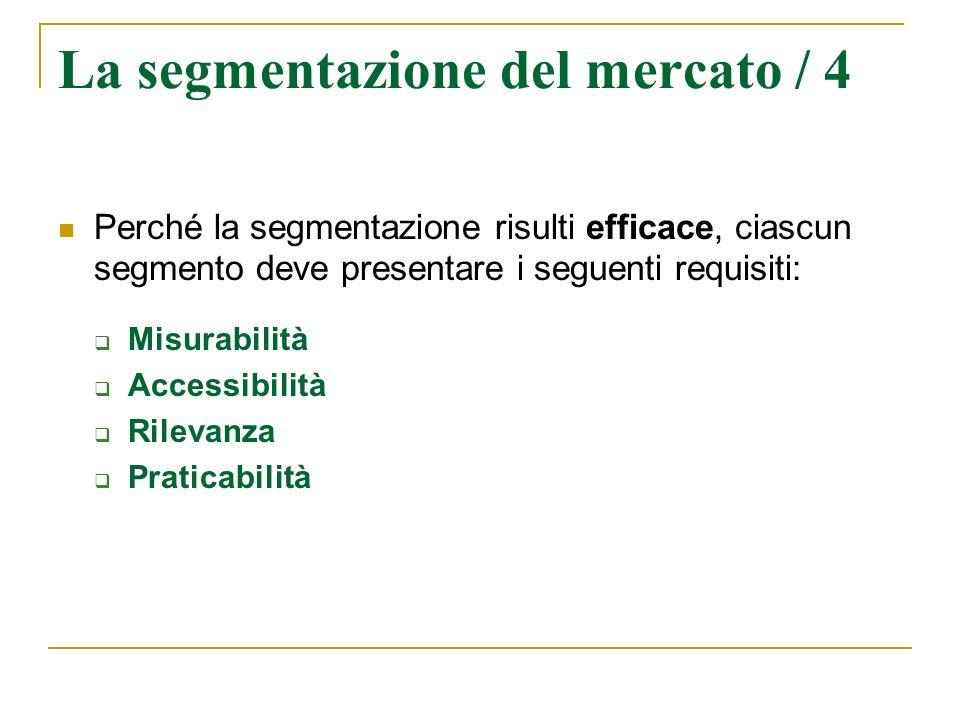 La segmentazione del mercato / 4