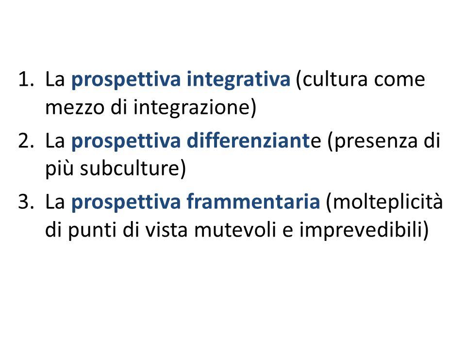 La prospettiva integrativa (cultura come mezzo di integrazione)