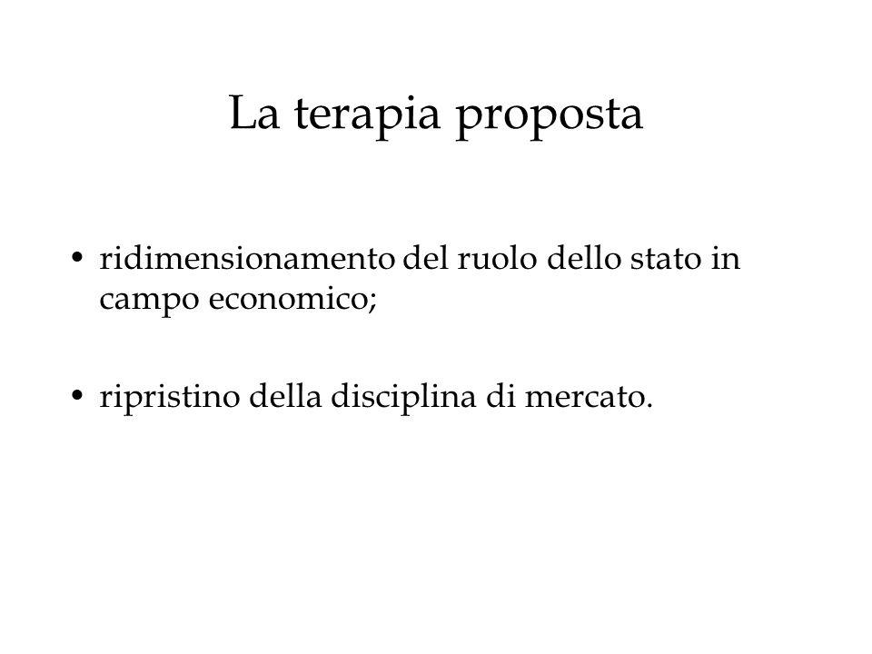 La terapia propostaridimensionamento del ruolo dello stato in campo economico; ripristino della disciplina di mercato.