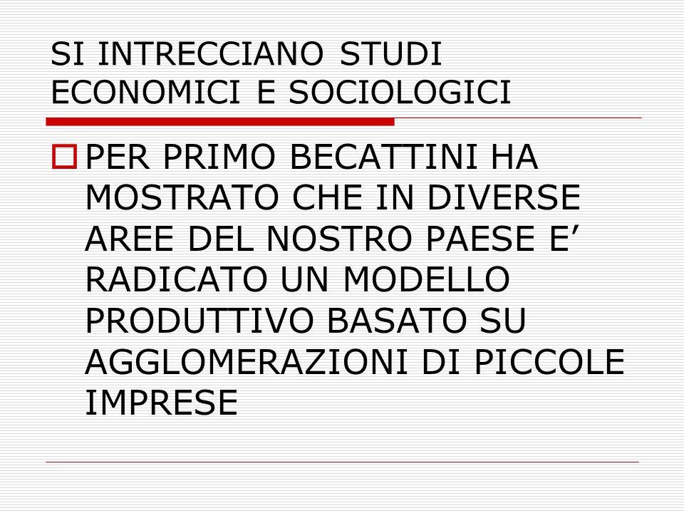 SI INTRECCIANO STUDI ECONOMICI E SOCIOLOGICI