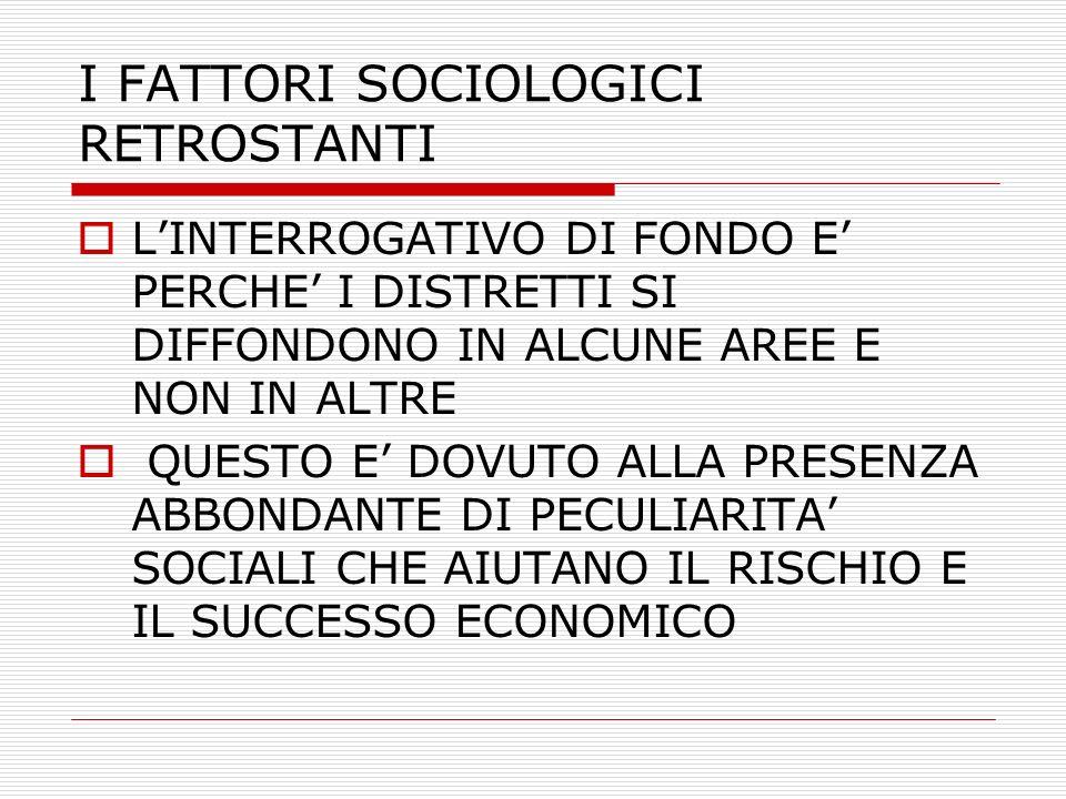 I FATTORI SOCIOLOGICI RETROSTANTI