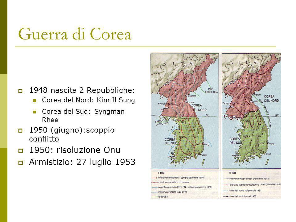 Guerra di Corea 1950: risoluzione Onu Armistizio: 27 luglio 1953