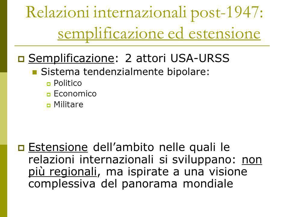 Relazioni internazionali post-1947: semplificazione ed estensione