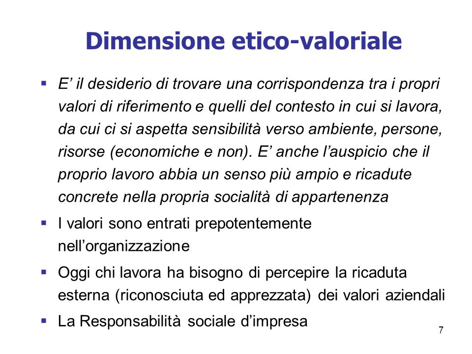 Dimensione etico-valoriale
