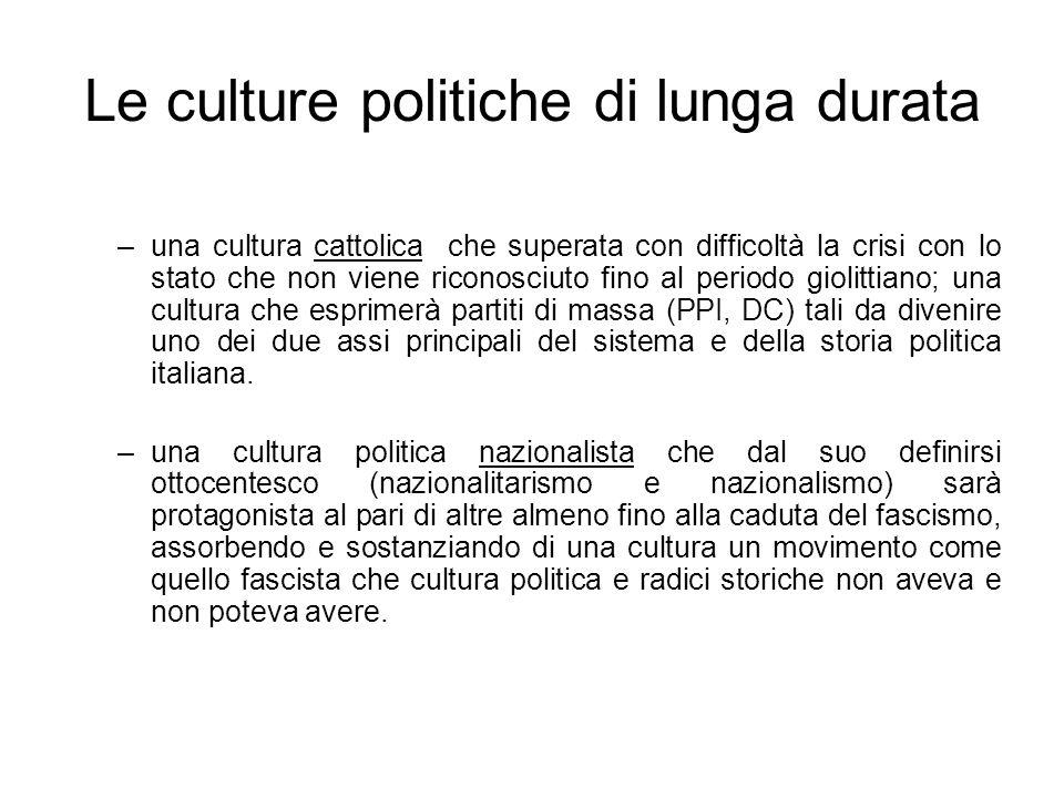 Le culture politiche di lunga durata