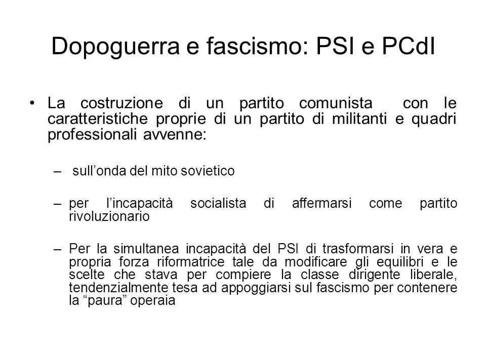 Dopoguerra e fascismo: PSI e PCdI