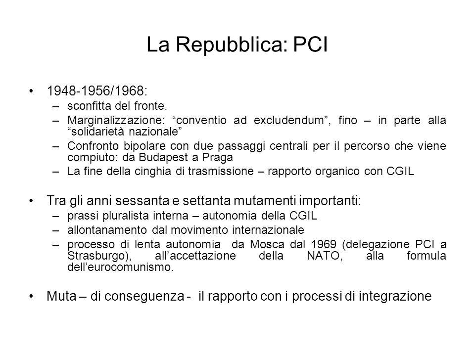 La Repubblica: PCI1948-1956/1968: sconfitta del fronte. Marginalizzazione: conventio ad excludendum , fino – in parte alla solidarietà nazionale