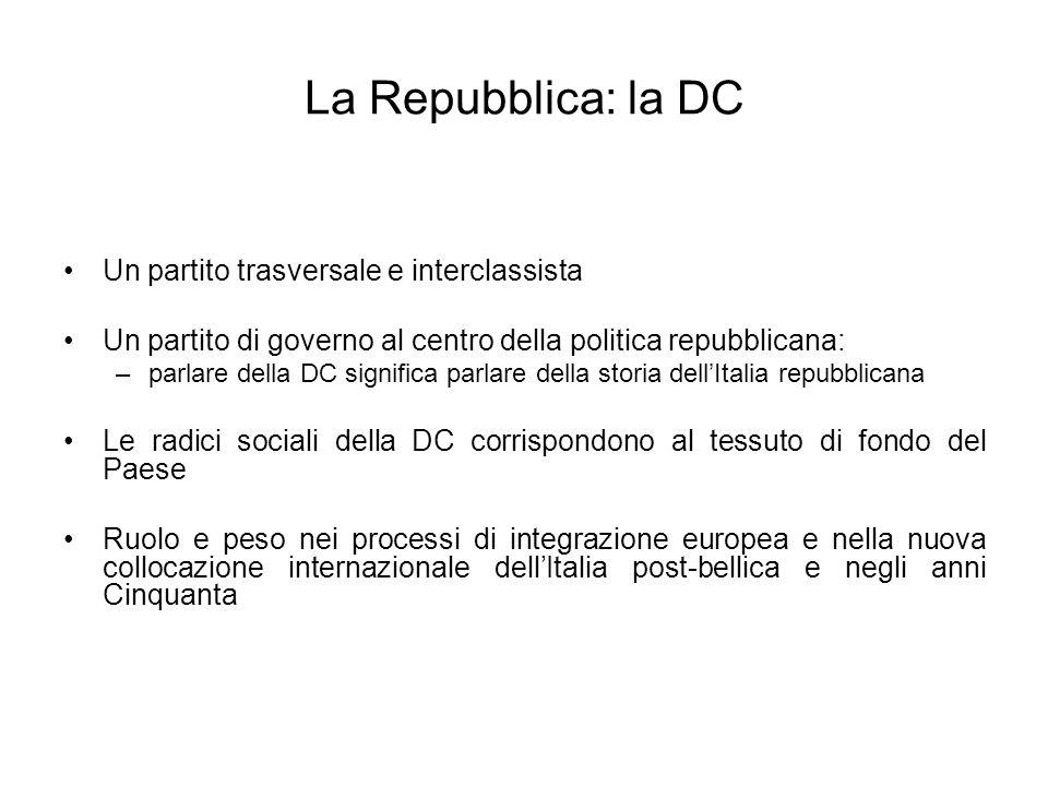 La Repubblica: la DC Un partito trasversale e interclassista