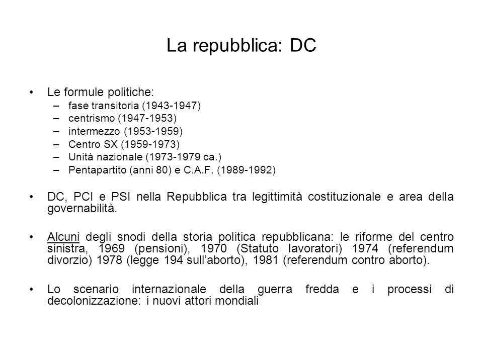 La repubblica: DC Le formule politiche: