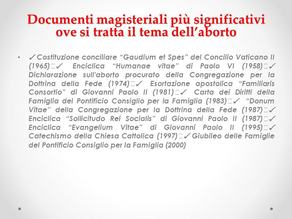 Documenti magisteriali più significativi ove si tratta il tema dell'aborto