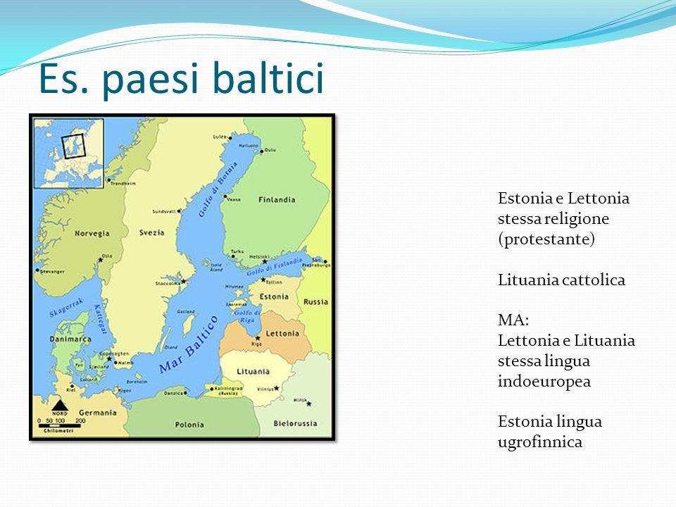 Es. paesi baltici Estonia e Lettonia stessa religione (protestante)