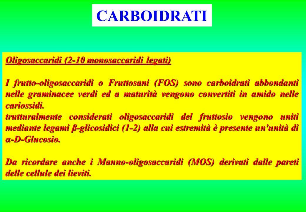 CARBOIDRATI Oligosaccaridi (2-10 monosaccaridi legati)
