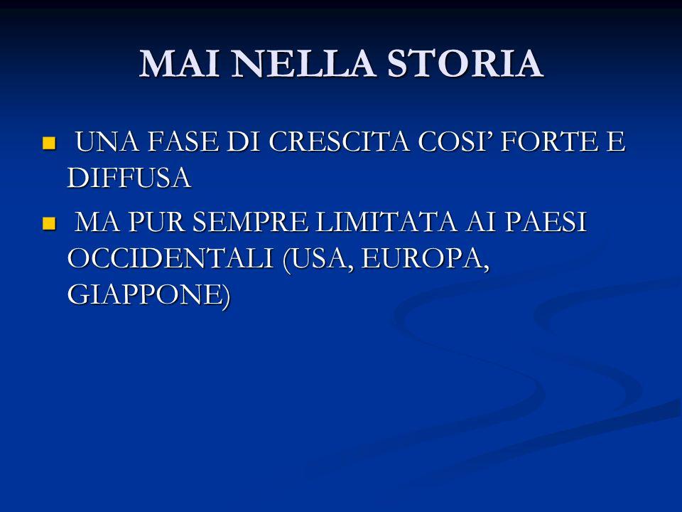 MAI NELLA STORIA UNA FASE DI CRESCITA COSI' FORTE E DIFFUSA