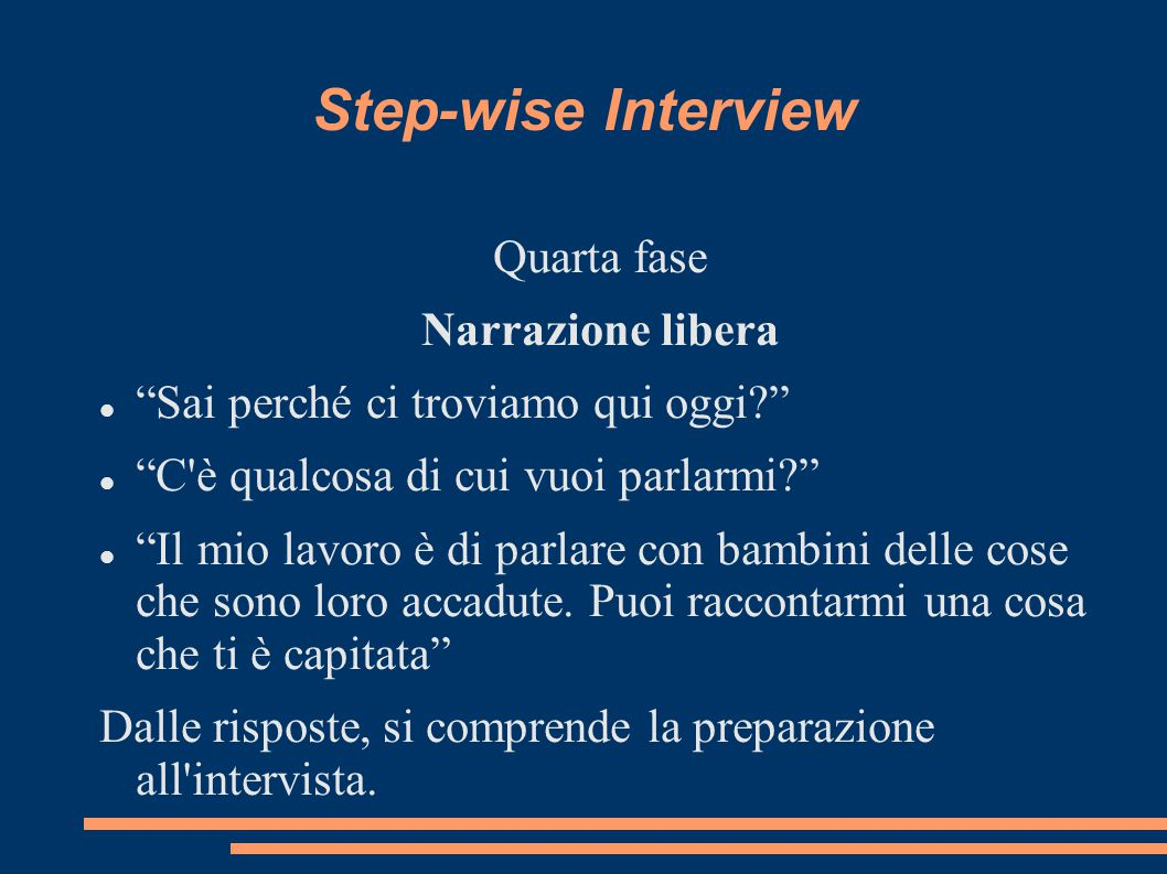 Step-wise Interview Quarta fase Narrazione libera