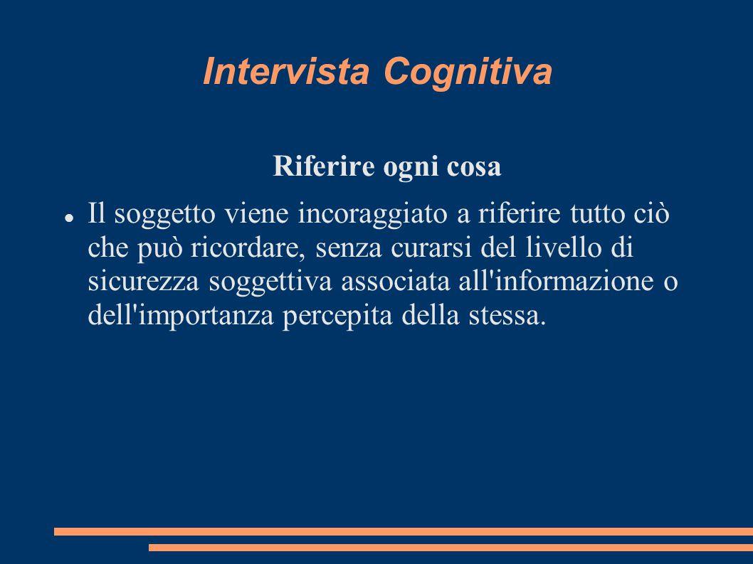 Intervista Cognitiva Riferire ogni cosa