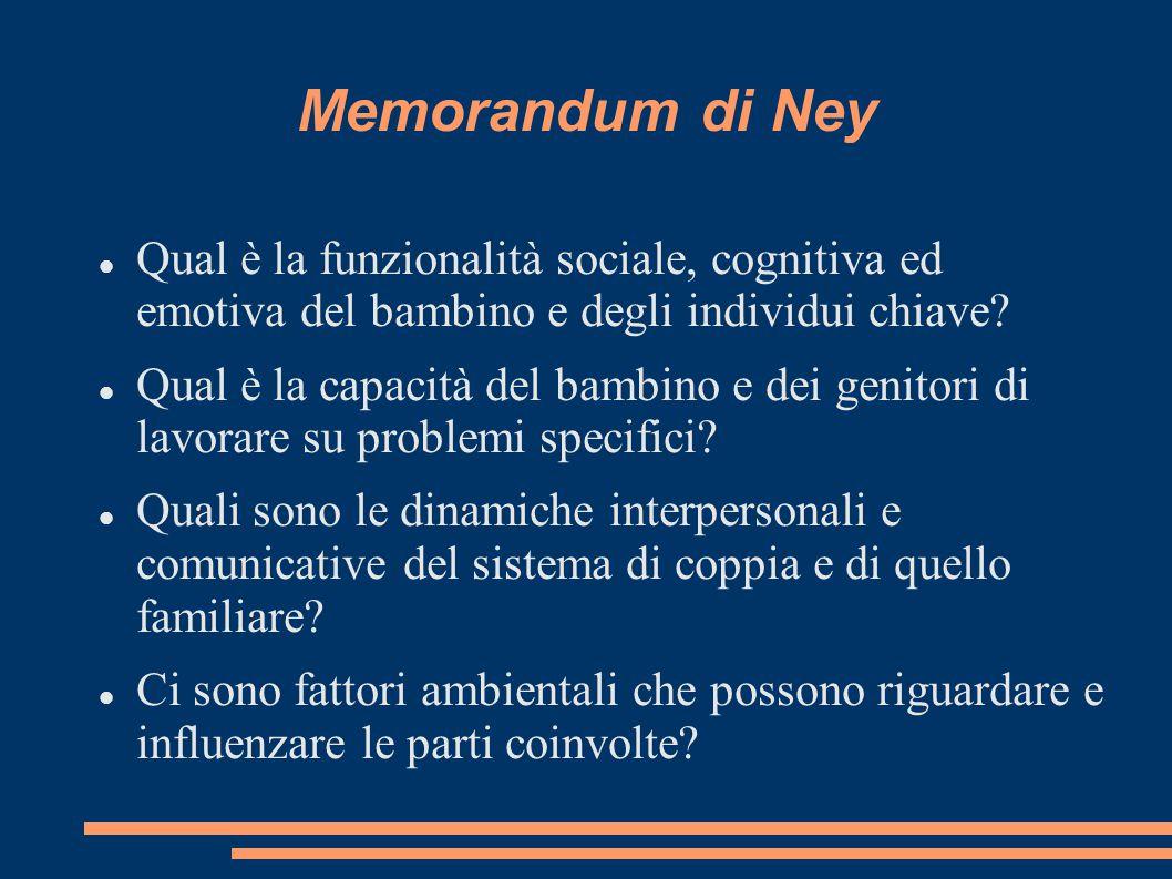 Memorandum di Ney Qual è la funzionalità sociale, cognitiva ed emotiva del bambino e degli individui chiave
