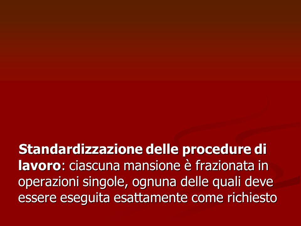 Standardizzazione delle procedure di lavoro: ciascuna mansione è frazionata in operazioni singole, ognuna delle quali deve essere eseguita esattamente come richiesto