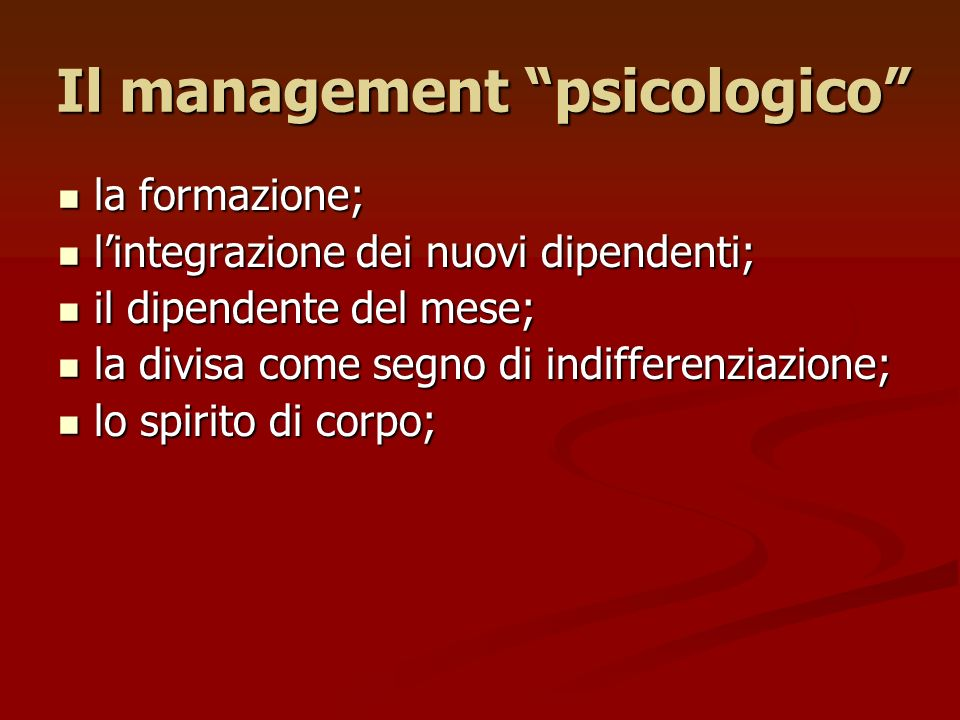 Il management psicologico