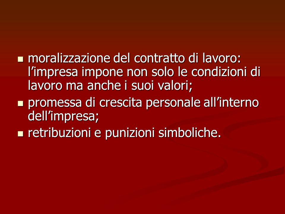 moralizzazione del contratto di lavoro: l'impresa impone non solo le condizioni di lavoro ma anche i suoi valori;