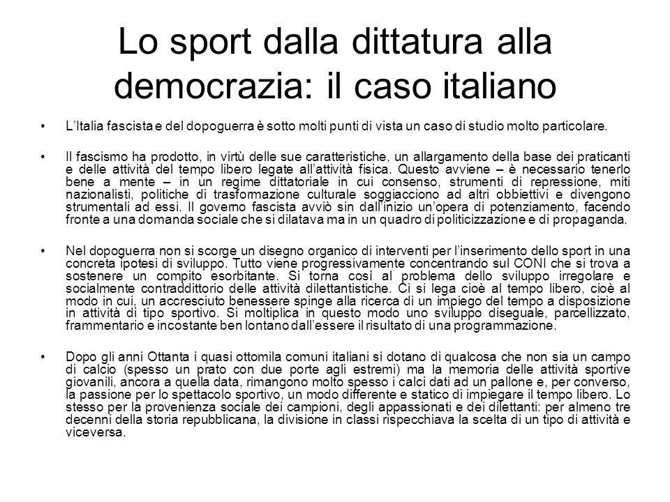 Lo sport dalla dittatura alla democrazia: il caso italiano