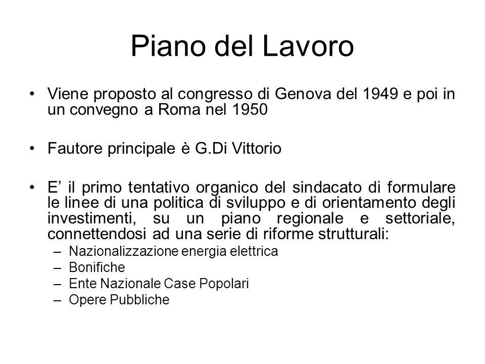 Piano del LavoroViene proposto al congresso di Genova del 1949 e poi in un convegno a Roma nel 1950.