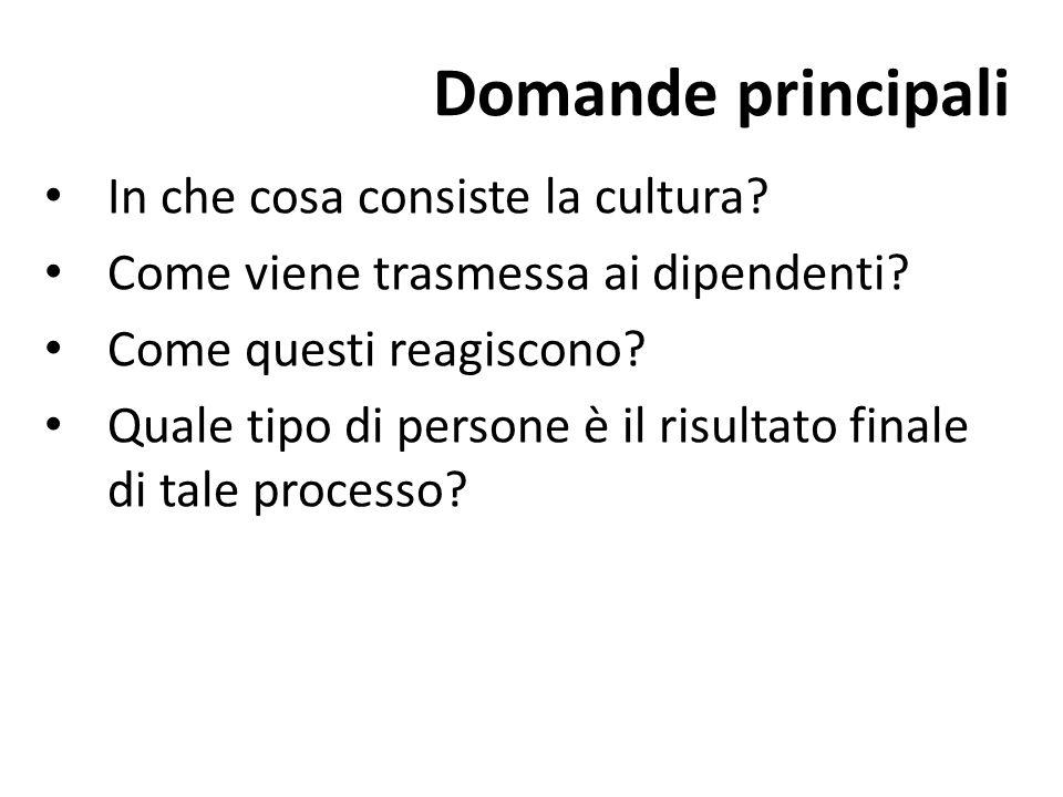 Domande principali In che cosa consiste la cultura
