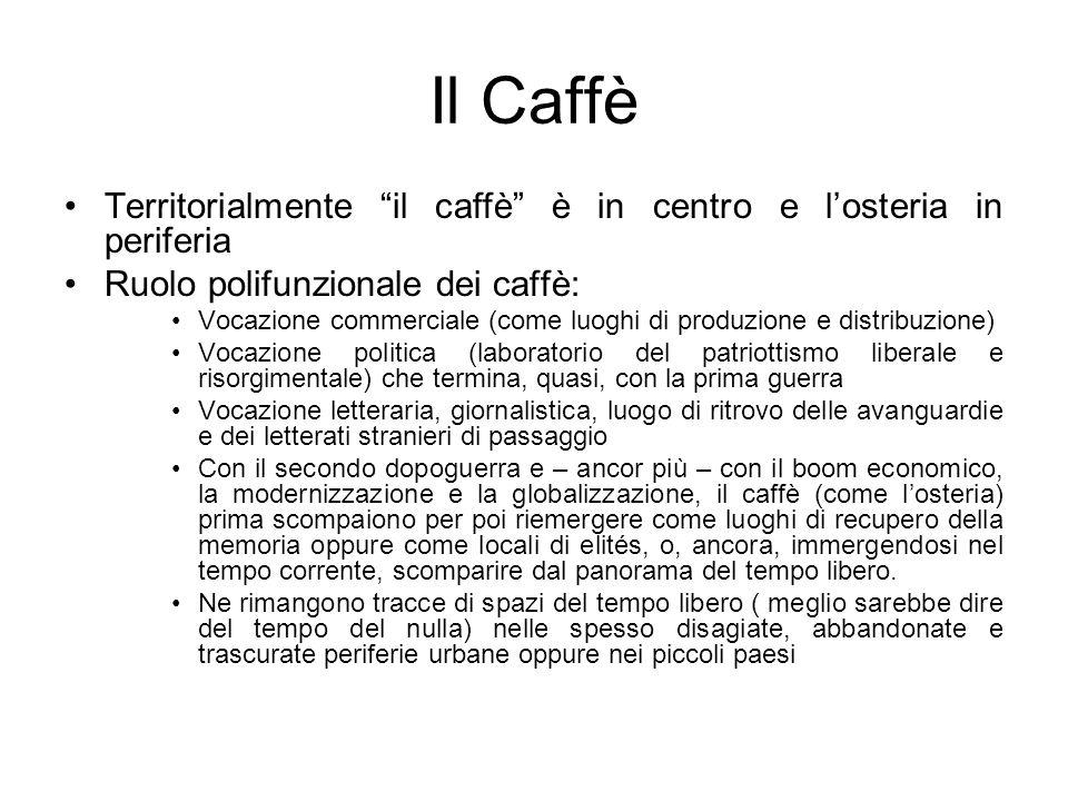 Il Caffè Territorialmente il caffè è in centro e l'osteria in periferia. Ruolo polifunzionale dei caffè: