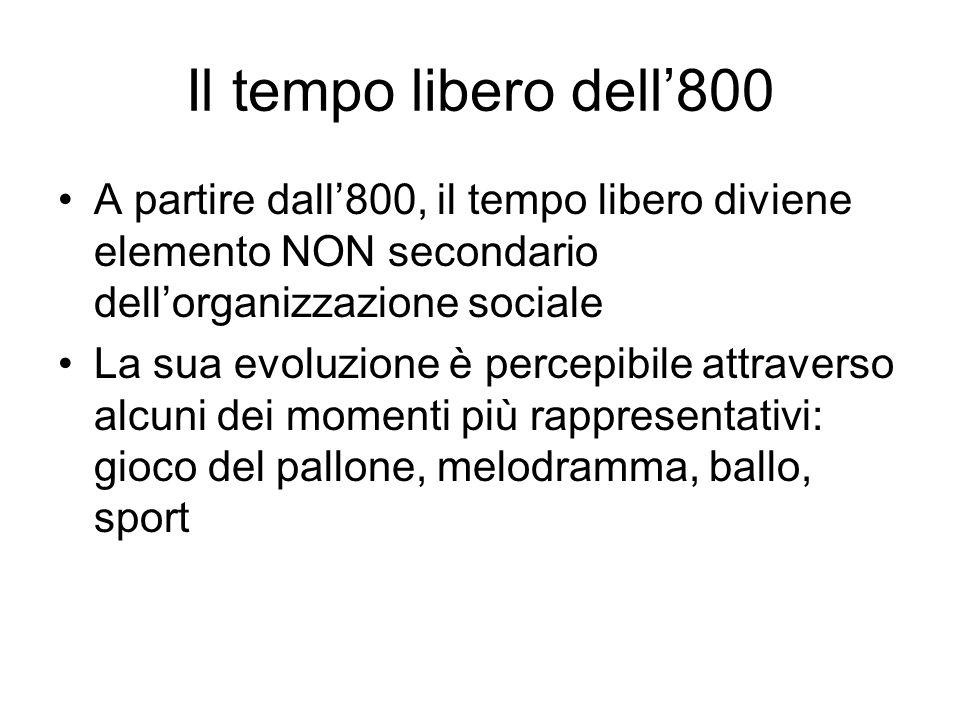 Il tempo libero dell'800 A partire dall'800, il tempo libero diviene elemento NON secondario dell'organizzazione sociale.