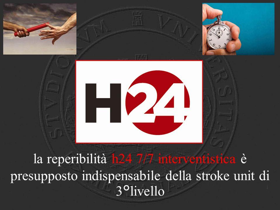 H24 la reperibilità h24 7/7 interventistica è presupposto indispensabile della stroke unit di 3°livello.