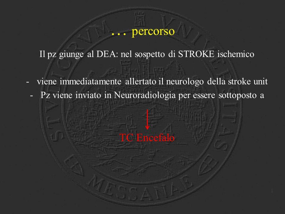 … percorso Il pz giunge al DEA: nel sospetto di STROKE ischemico. viene immediatamente allertato il neurologo della stroke unit.